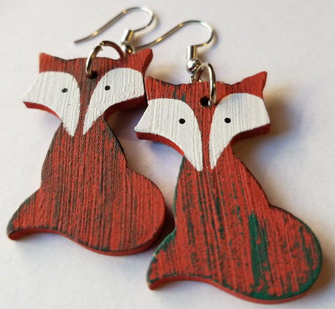Wooden Fox Handmade Earrings - Meraki by Misty