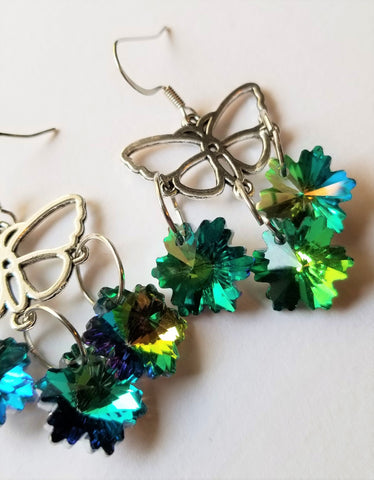 Butterfly and Light Catching Leaf Handmade Earrings - Meraki by Misty
