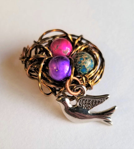 Hand Made Copper and Beaded Birds Nest Pendant - Meraki by Misty