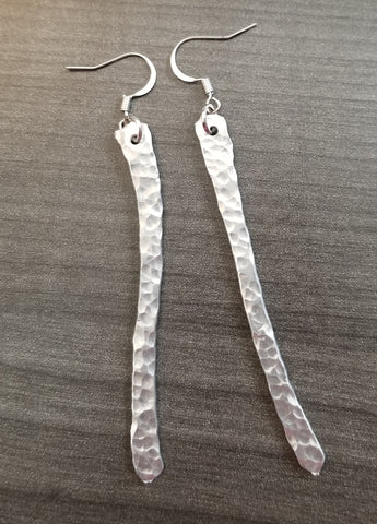 Hammered Metal Earrings, Silver, Handmade - Meraki by Misty