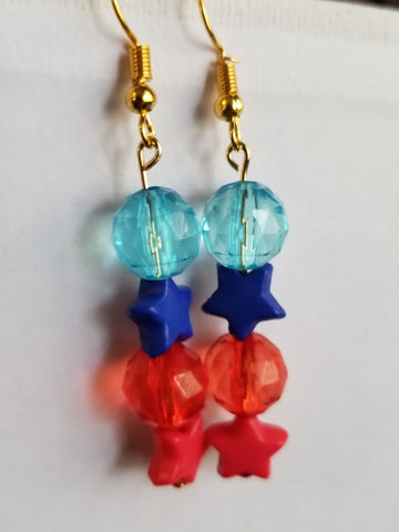 Red, Blue and Gold Earrings with Stars and Faceted Beading - Meraki by Misty
