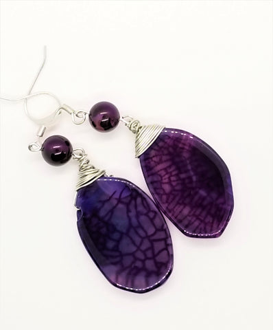 Hand Wired, Purple Striated Agate Drop Earrings - Meraki by Misty