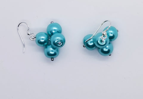 Blue Pearl, Cluster Earrings - Silver - Meraki by Misty