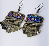 Bronze, Multi Colored Beaded Earrings with Cascading Hammered Embellishments - Meraki by Misty