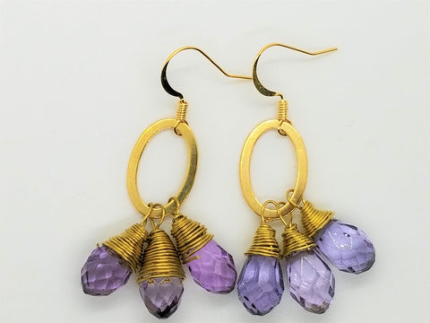 Wrapped Lavender Amethyst and Gold Toned Hoops - Meraki by Misty