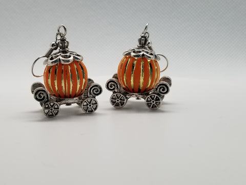 Pumpkin Princess Carriage, Halloween Earrings - Meraki by Misty