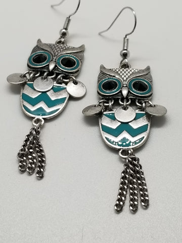 Silver Owl, Metal Tassle Earrings - Meraki by Misty