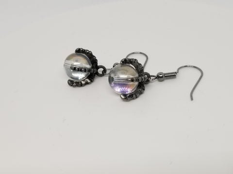 Dragon Claw, Crystal Ball, Hand Crafted Earrings - Meraki by Misty