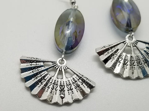 Iridescent Glass, Metal Fan Handcrafted Earrings - Meraki by Misty
