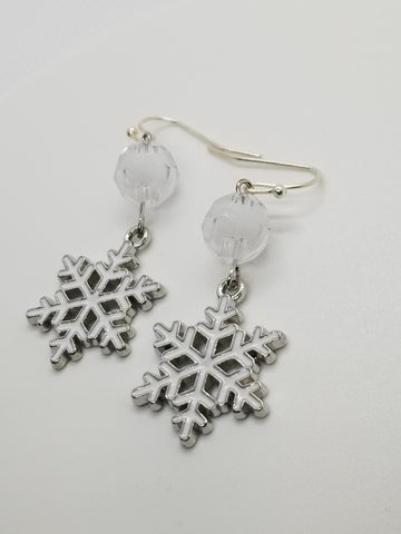 White Snowflake, Christmas Winter Handcrafted Earrings - Meraki by Misty