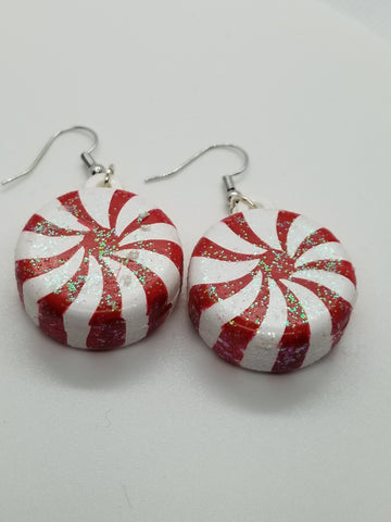 Peppermint Swirl, Christmas Handcrafted Earrings - Meraki by Misty