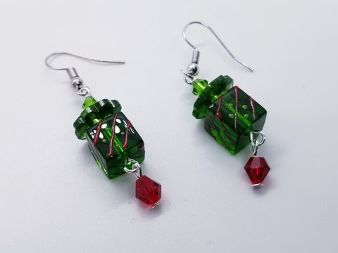 Glass Christmas Present Handcrafted Earrings - Meraki by Misty