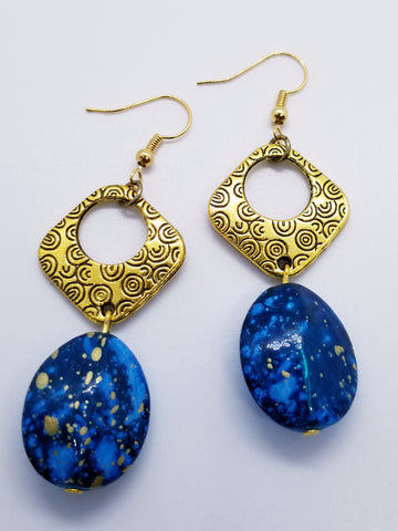 Bold Blue Beaded Gold Metal Hand Crafted Earrings - Meraki by Misty