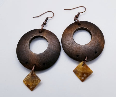 Wood and Shell Geometric Hand Crafted Earrings - Meraki by Misty