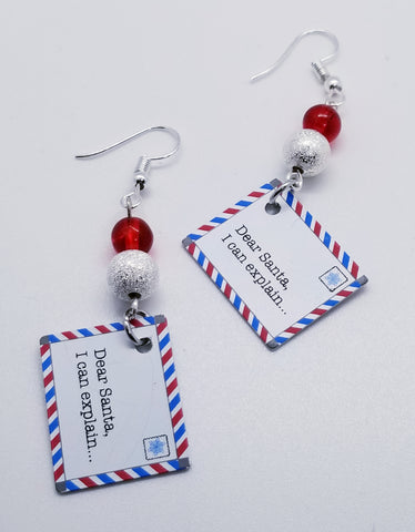 Naughty Letters to Santa Hand Crafted Earrings - Meraki by Misty