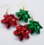 Wrapped Metal Christmas Bows, Red or Green, Gold Handcrafted Earrings - Meraki by Misty