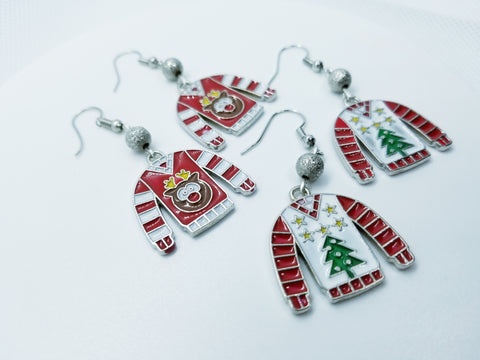 Enamel and Metal Ugly Christmas Sweater Hand Crafted Earrings - Meraki by Misty