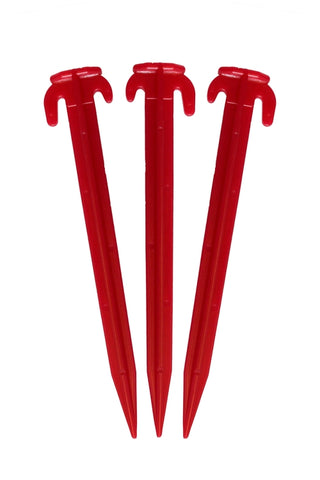 20 DELUXE  RED PLASTIC TENT STAKES