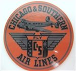 Chicago & Southern Airlines Vintage Silver Bag Sticker Coaster