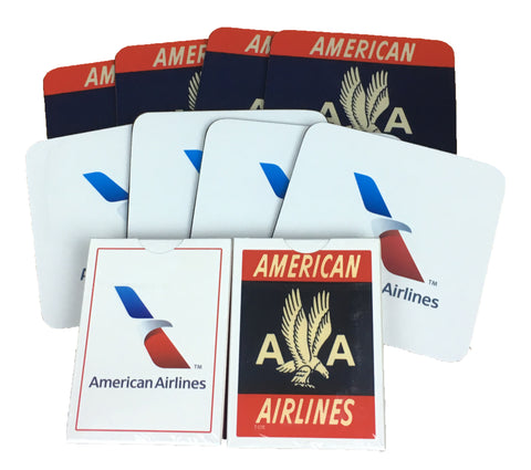 American Airlines 8 Coasters and 2 Decks of Playing Cards Set