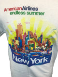 American Airlines New York City Travel Poster T-shirt Closeup