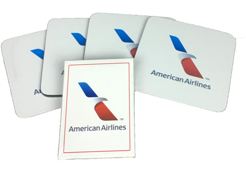 American Airlines New Logo 4 Coasters and 1 Deck of Playing Cards Set