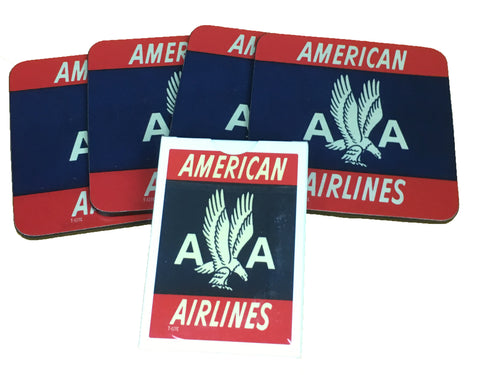 American Airlines Red Logo 4 Coasters and 1 Deck of Playing Cards Set