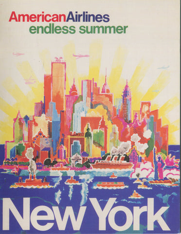 American Airlines New York City Endless Summer Travel Poster Note Cards - Pack of 12