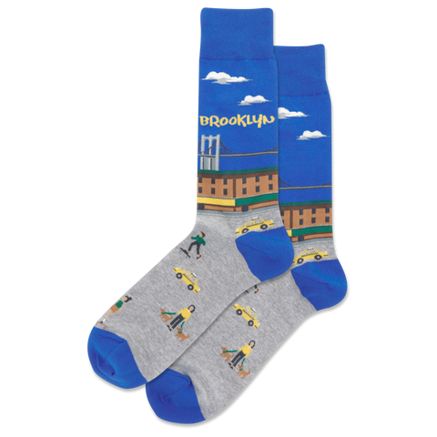 Brooklyn Men's Travel Themed Crew Socks