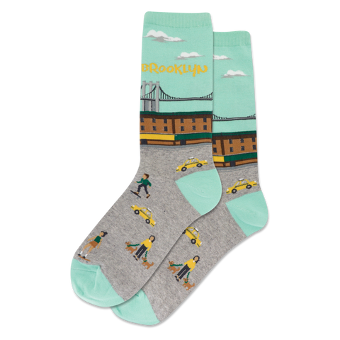 Brooklyn Women's Travel Themed Crew Socks