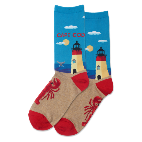Cape Cod Women's Travel Themed Crew Socks