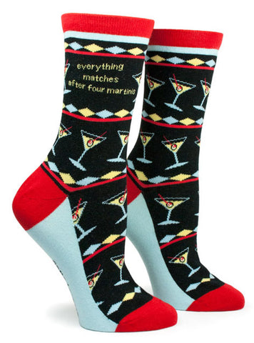 Anne Taintor Crew Socks - everything matches after four martinis