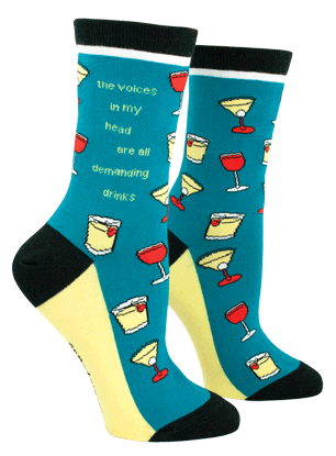 Anne Taintor Crew Socks - the voices in my head are all demanding drinks