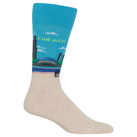 Chicago Men's Travel Themed Crew Socks