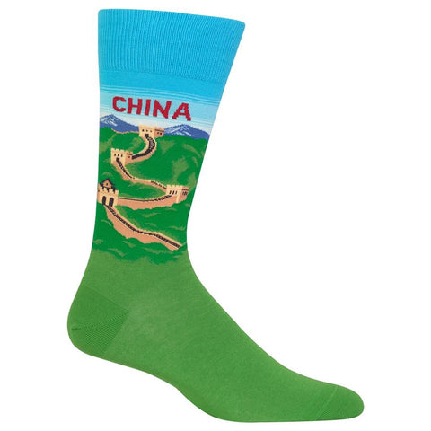 China Men's Travel Themed Crew Socks