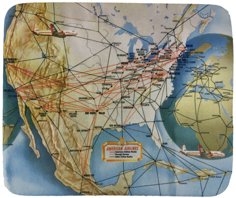 American Airlines 1950's Route Map Mousepad