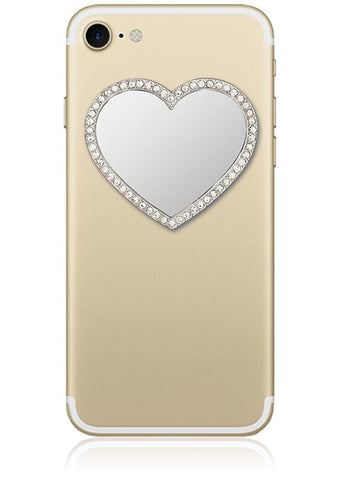 Silver Heart w/ Crystals Phone Mirror