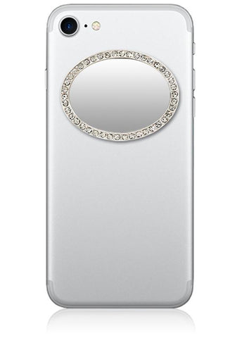 Silver Oval w/ Crystals Phone Mirror