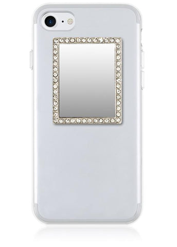 Silver Rectangle w/ Crystals Phone Mirror