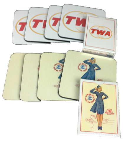 TWA 8 Coasters and 2 Decks of Playing Cards Set