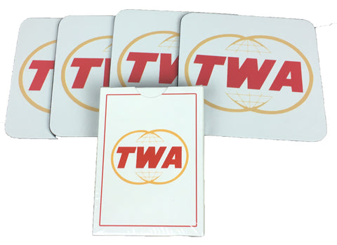 TWA Globe 4 Coasters and 1 Deck of Playing Cards Set
