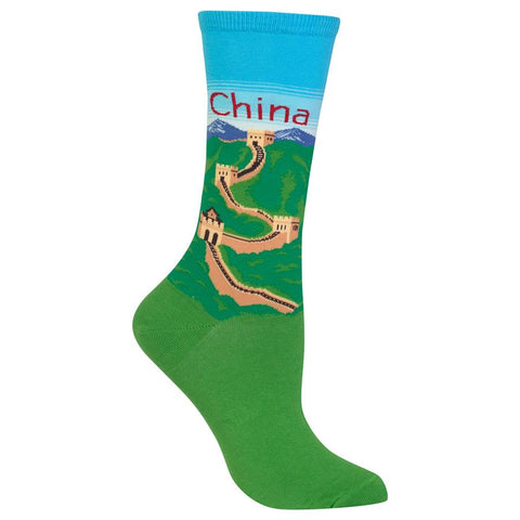 China Women's Travel Themed Crew Socks