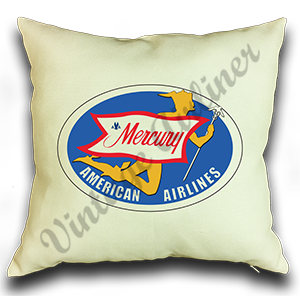 American Airlines 1950's Mercury Service Bag Sticker Linen Pillow Case Cover