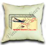 American Airlines Mexico Service Bag Sticker Linen Pillow Case Cover