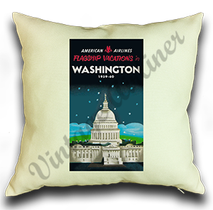 American Airlines Washington DC AA Vacations Linen Pillow Case Cover