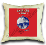 American Airlines 1936 Timetable Cover Linen Pillow Case Cover