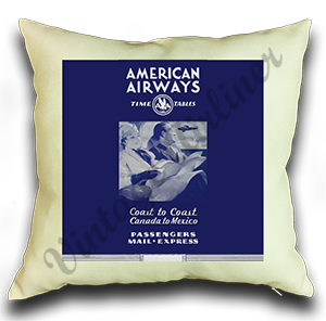 American Airlines American Airways Early 1930's Timetable Cover Linen Pillow Case Cover