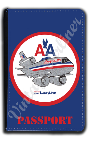 AA DC-10 Old Livery Bag Sticker Passport Case