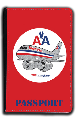 AA 767 Old Livery Bag Sticker Passport Case