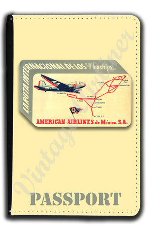 AA 1940's Mexico Service Bag Sticker Passport Case